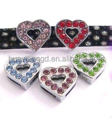 DIY colored heart slide charm for personalized dog collar