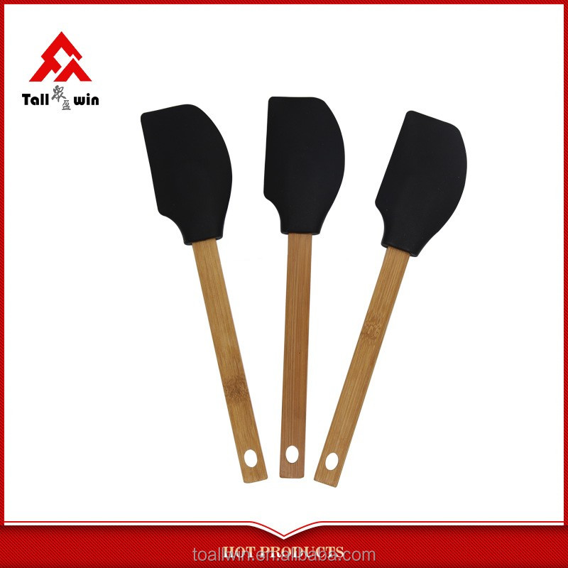 New design bamboo handle silicone spatula baking spatula
