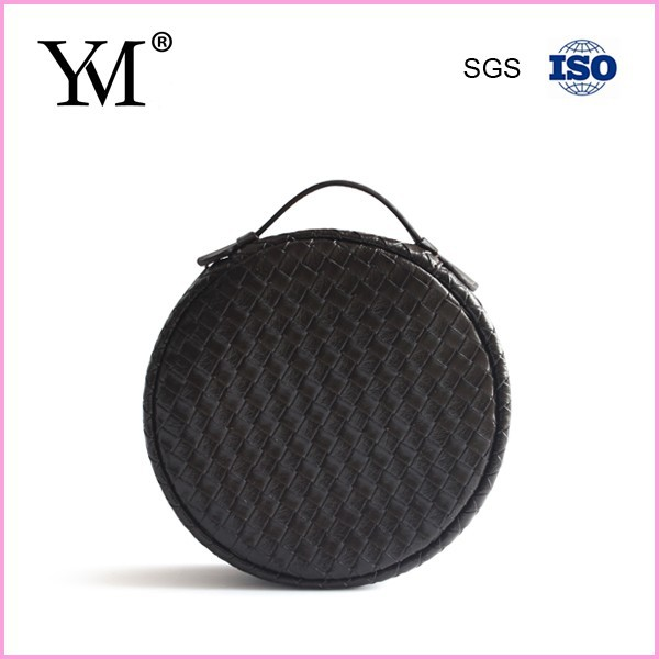 NEW!! Special PU leather portable round black cosmetic case
