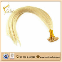 Silky Straight Wave Blonde Cheap 100% Keratin U Tip Human Hair Extensions Nail Tip Hair