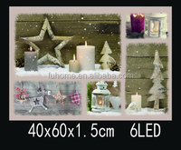 Best seller christmas tree painting picture frame , cheap home decoration wall hanging picture frames with led lights