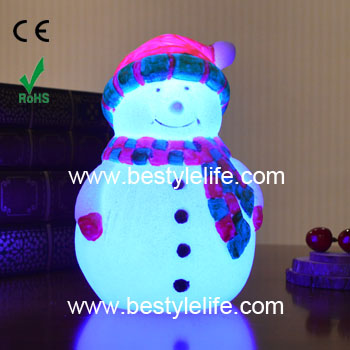 Color changing snowman shaped led christmas candle light