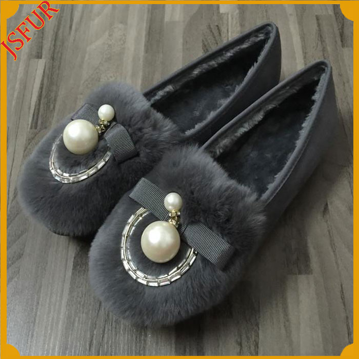 Winter Colourful Flat Shoes For Girl Shoes With Fur