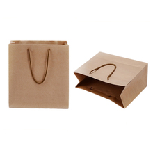 Hot selling reusable pure color kraft brown paper shopping bag for promotion