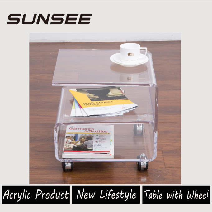clear media console acrylic coffee table with wheels
