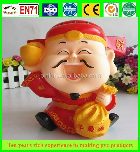 the God of Wealth pvc money box, chinese figure plastic money bank, oem pvc funny coin box