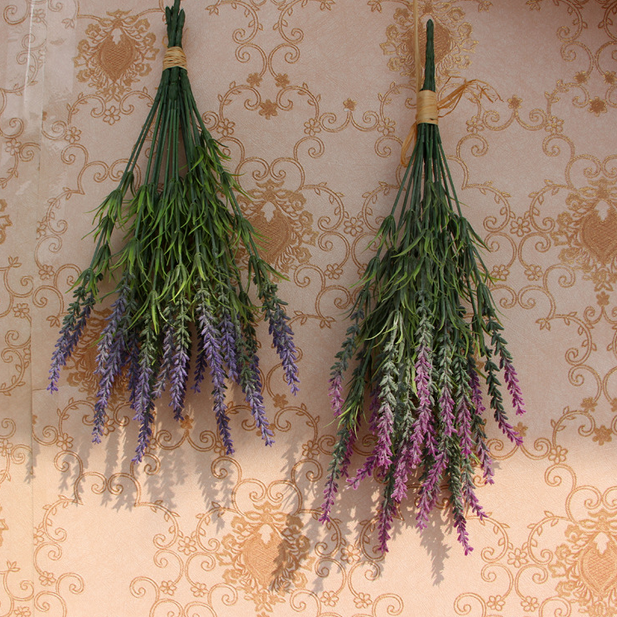 Wholesale 7 branches real touch purple artificial lavender flowers bulk