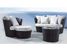 Tub shaped stylish balcony corner sitting chair and coffee table furniture outdoor wicker circular sofa