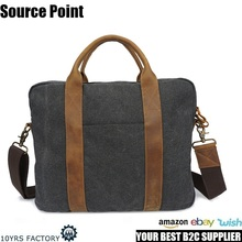 YD-3173 2017 Newest design gray retro canvas and leather laptop tote bag briefcase messenger