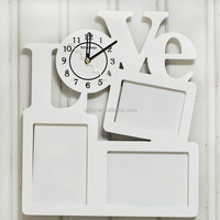 Fashion LOVE Carved Wood Wall Clock with Photo Frame