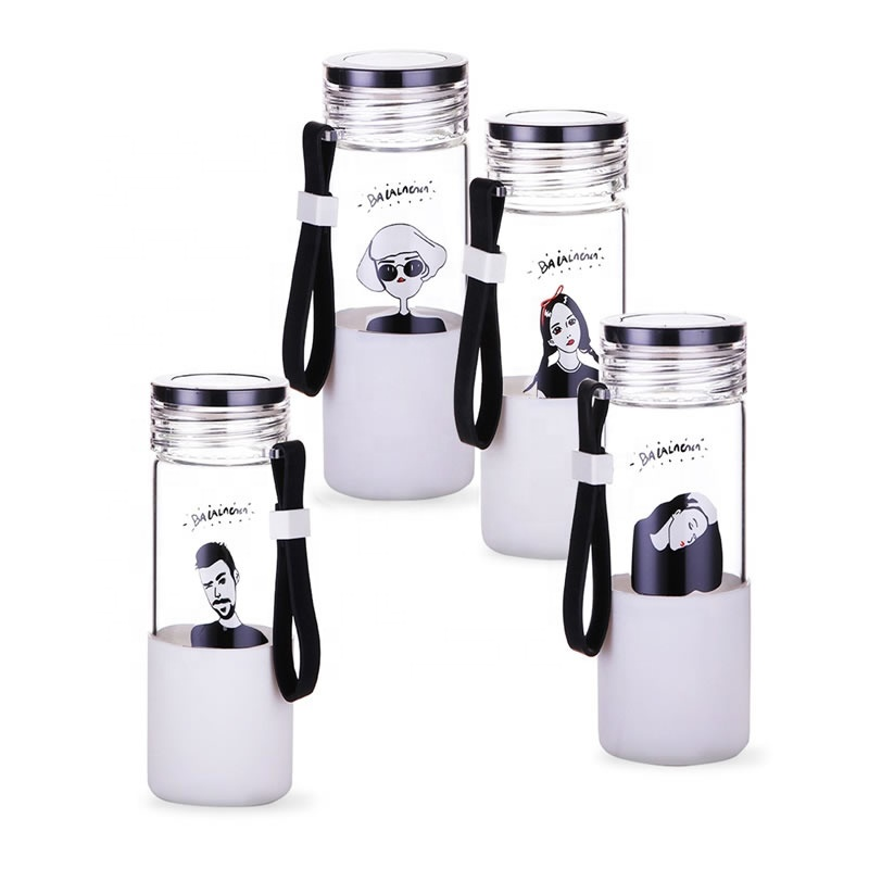 YiJia 500ml portable beverage glass water drinking bottle with handle