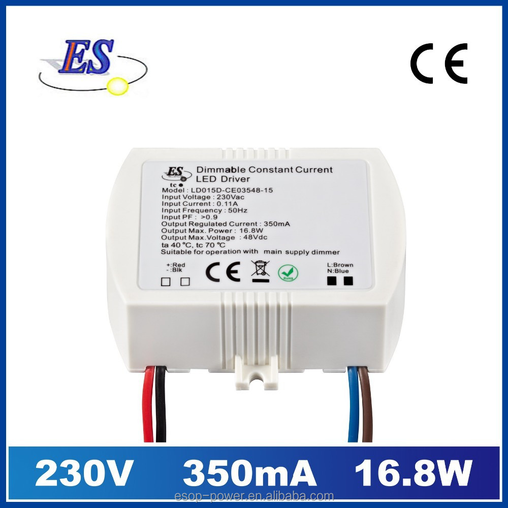 16.8W 350mA 48V Constant Current LED Driver with Triac Dimmer, UL approved led driver