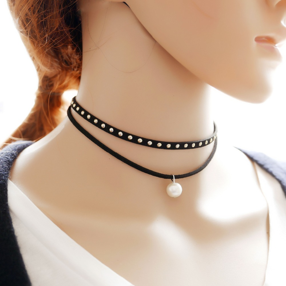 New arrival necklace sexy choker necklace double strand pearl pendant black choker necklace
