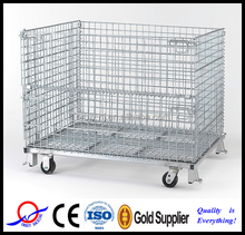 Nanjing factory Collapsible Metal Wire Mesh Stacking Box with wheel