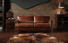American antique two-seats brown color leather sofa living room furniture leather sofa A109