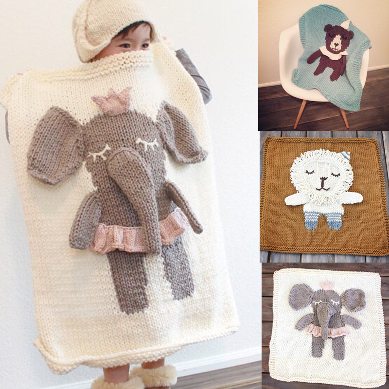S32270W 2016 Fashion Cartoon Baby Blankets Newborn Girls Boys Cotton Super Soft Knitted Animal Pattern Blanket
