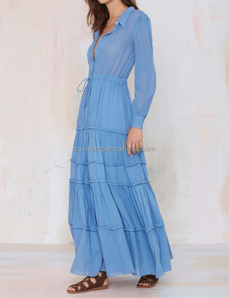 2015 women spring/autumn fashion muslim long sleeve maxi dress cotton casual maxi dress SYA15228