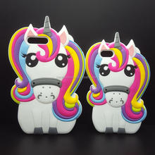 Fashion 3D Cartoon Animal Silicon case for iPhone7 , 7 plus , 6 , 6s plus Cute Rainbow Horse Rubber cover phone cases