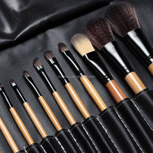 Free shipping !! 15 pcs Soft Synthetic Hair make up tools kit Cosmetic Beauty Makeup Brush Black Sets with Leather Case