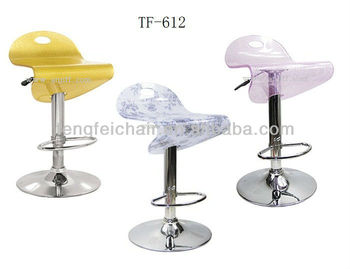 Acrylic bar chair with chromsing base/ height adjust and 360 degree swivel/ all color/ easy to clean