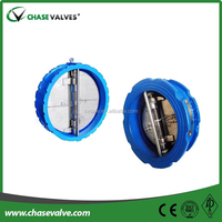 Double and single disc wafer type spring loaded check valve