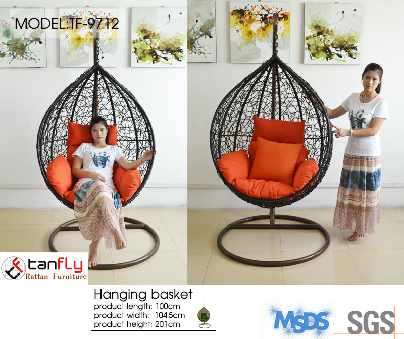 Prime garden furniture soft comfort hanging ball chair swing.