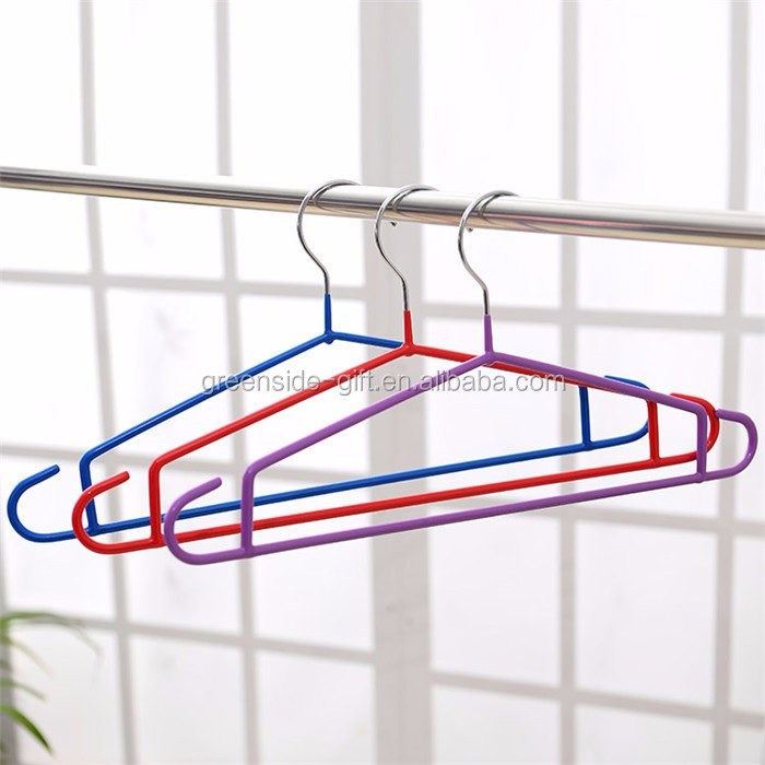 Cheap wholesale metal+PVC coated good clothes hangers