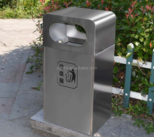 Outdoor standing stainless steel waste bin