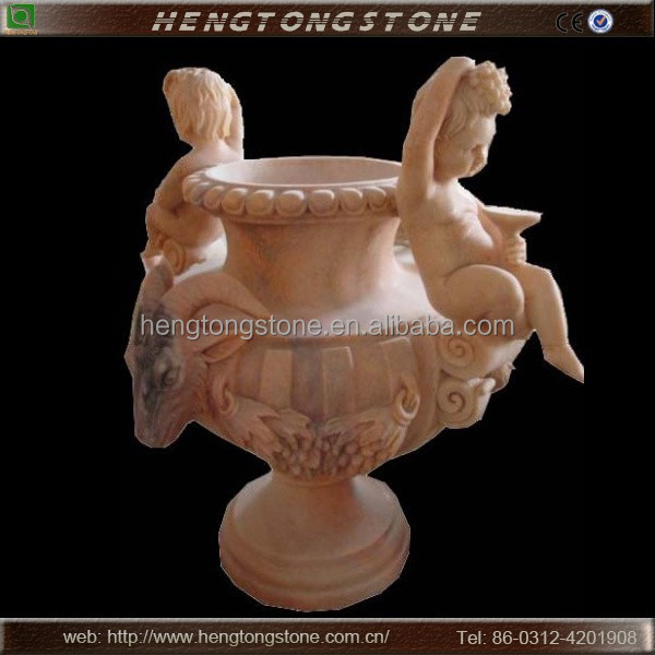 Hand Carved Marble Garden Flower Pot with Children