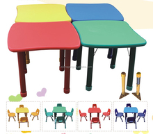 morden wooden adjustable school table/plastic bright colored chairs