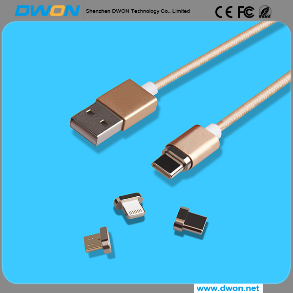 2018 New Products 3 in1 Magnetic Charging Cable USB Quick Charger Nylon Braided Data Cable