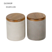2016 hot sale candle concrete holder / jars with wood lis from direct factory for votive decoration home decor