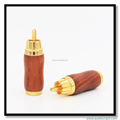 Red Wood Gold Plated RCA Audio Cable Male Plug Speaker Cable Connector Video Adapter Terminal