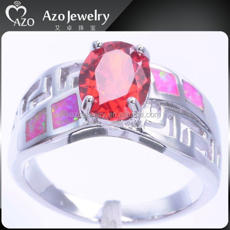 Latest Women's 925 Sterling Silver Pink Opal and Ruby Ring
