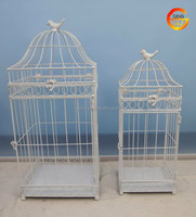 Wholesale metal cream bird cage decoration