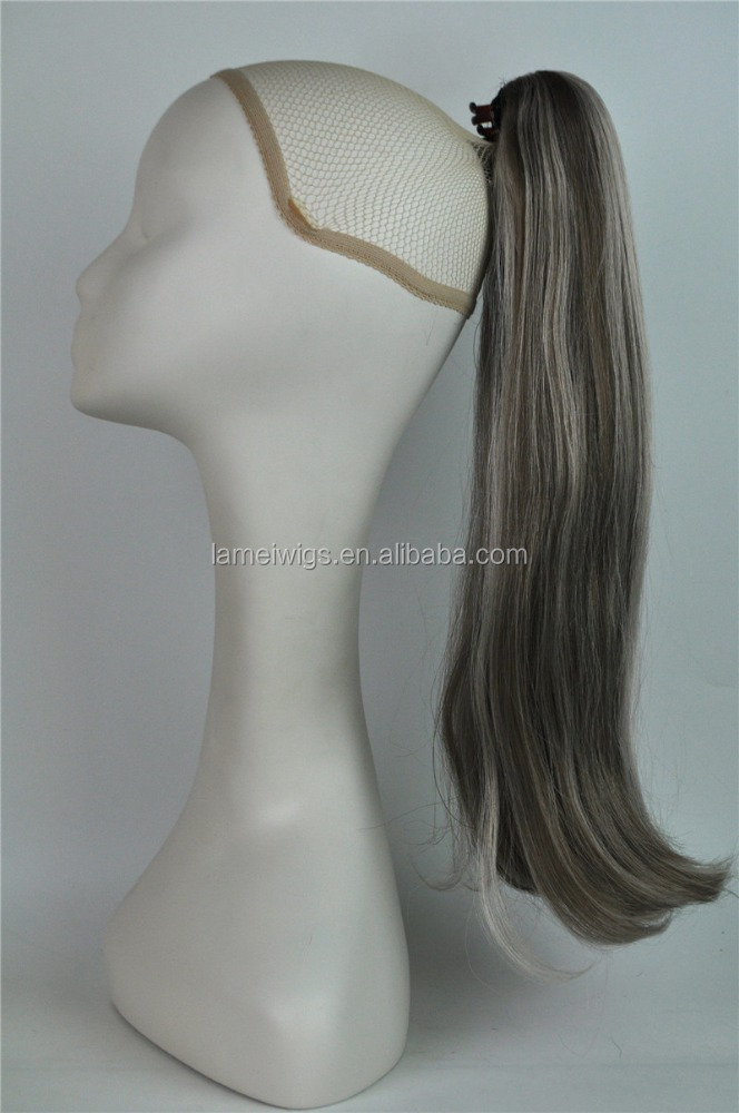 F6259 cheap large stock fake synthetic grey straight ponytail