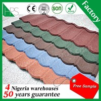 Colorful sand coated metal roof tiles / Stone chip steel roofing tiles