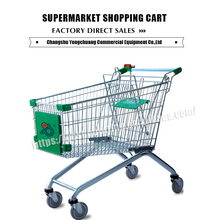 green carrefour china online shopping trolley/supermarket equipment shopping cart