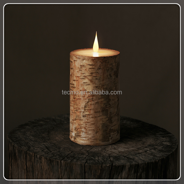 TECMO Nature series battery operated with remote contral flameless moving wick wax LED candle