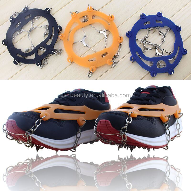 10-Stud 3 Color Anti-Slip Ice Snow Shoe Boot Gripper Claws traction Cleats Hiking Climbing Grips Crampon