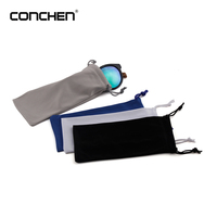 2017 cheap promotional black polyester custom soft sunglasses pouch