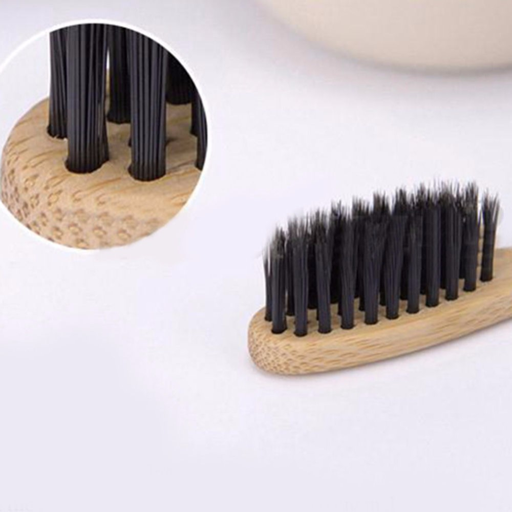 Wholesale Organic Natural Bamboo Toothbrush - Charcoal Infused Individually Numbered, BPA Free Bristles, Pack of 4 FBA Shipping