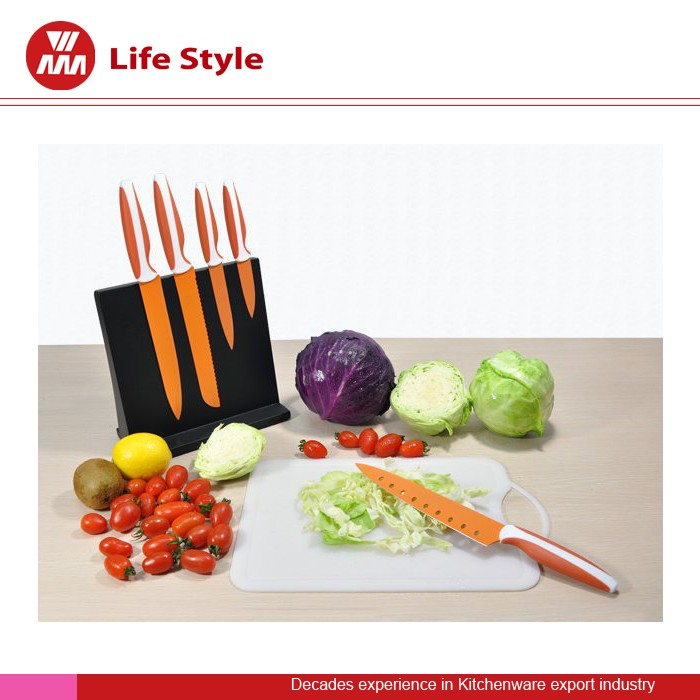 5 Pcs orange blade non-stick Knife set with black magnet stand