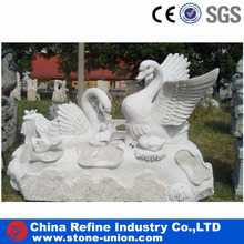 white marble goose and goose babies statue