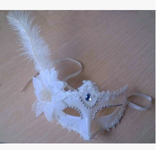 Ostrich hair ballroom party pincess feather mask