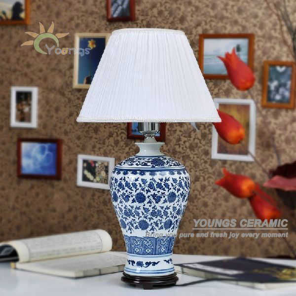 Cinese antico porcellana blu e bianca ceramica lampada da tavolo scrivania lampade da tavolo e - Lampade da tavolo in ceramica ...
