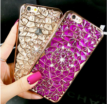 New Luxury 3D Electroplating Flowers Rhinestone Bling Soft TPU case For iPhone 7 7Plus 5 5G 5S SE 6 6G 6S 6Plus
