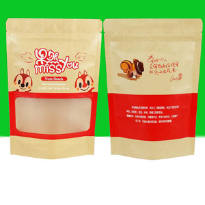 Plastic laminated kraft paper food packaging bags for cookies/coffee/cholate/tea/chips