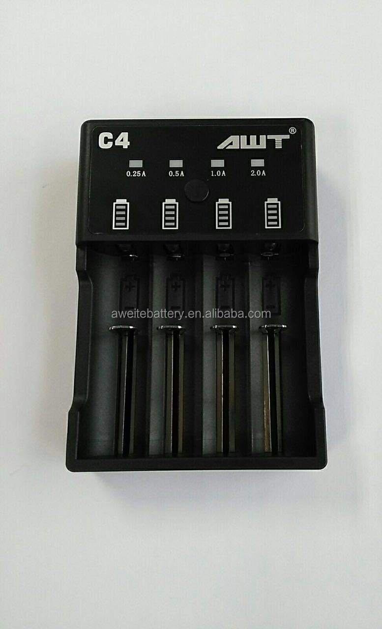 2017 New version AWT C4 battery charger 2A fast USB battery charger for 16340, 18350, 18500, 18650, 26650 batteries