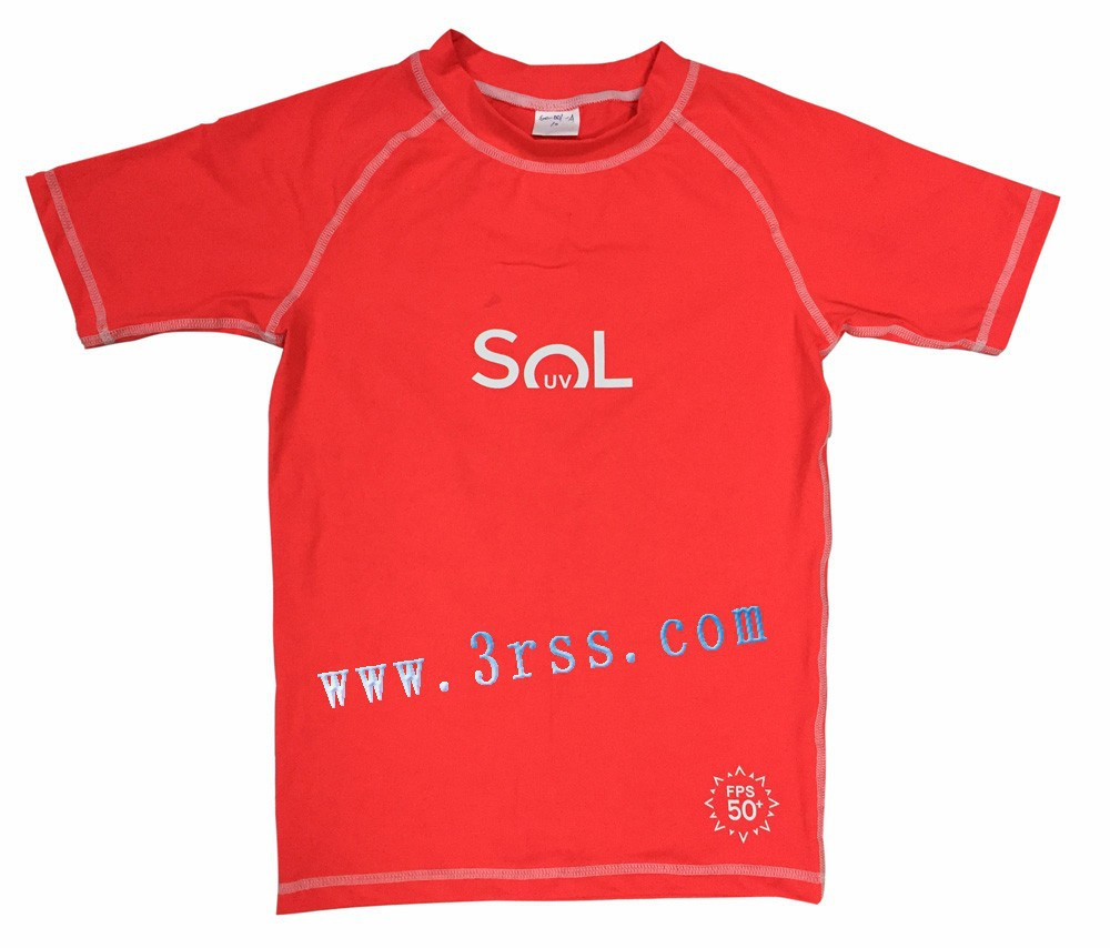 Boys blank red rash guard with UPF 50+